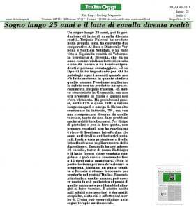 Equimilk - Italia Oggi 01-08-2018